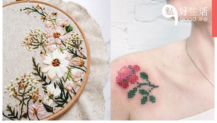 精緻得像藝術品!簡約風紋身要過時了,花藝女孩都轉為追捧最流行的「刺繡紋身」!